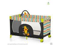 Hauck Disney Winnie the pooh tidy time wheeled Playpen Travel cot +Toybar + inc mattress