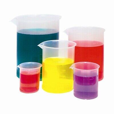 Plastic Beaker Set Of 5 - 50 100 250 500 1000ml Karter Scientific Case 12