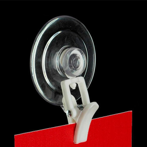 White Swivel Organizing Clever Clip with Suction Cup - Sign Holder - 10 Pieces