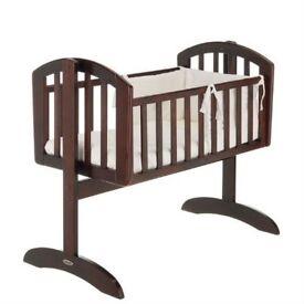 Mahogany swinging crib