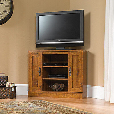 Corner Entertainment Stand   Abbey Oak   Harvest Mill Collection  404962