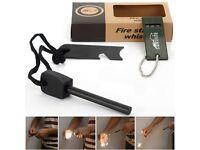 Fire Starter Flint Striker + Ruler + Whistle Survival Tool Kit for Outdoor Camping
