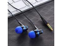 3.5mm In-Ear Stereo Earphones Braided Wire Blue
