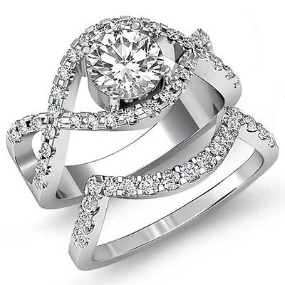 Round Prong Diamond Engagement GIA F VS1 14k White Gold Bridal Set Ring 2.37ct