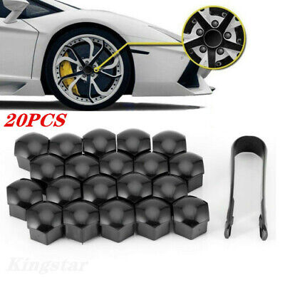 20PCS Car Wheel Lug Nut Bolt Center Cover Gray Caps Tool For Audi VW Skoda 17mm ()
