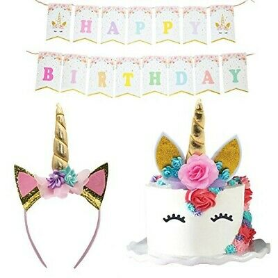 Unicorn Cake Topper (Unicorn Cake Topper Headband Banner Quality Crafted Party Decorations)