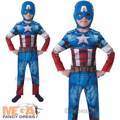 Captain America + Helmet Boys Fancy Dress Superhero Kids Childs Costume Outfit - Captain America Kids Outfit