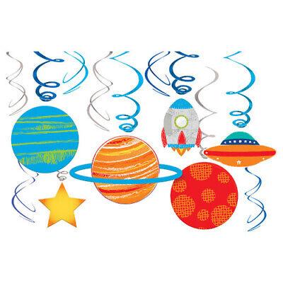 Happy Decorations (HAPPY BIRTHDAY Blast Off HANGING SWIRL DECORATIONS (12) ~ Party Supplies)