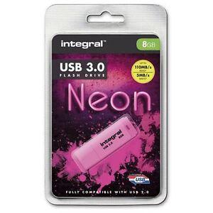 Integral-8GB-Neon-USB-3-0-Flash-Drive-in-rosa-fino-a-10-x-Piu-Veloce-USB-2-0