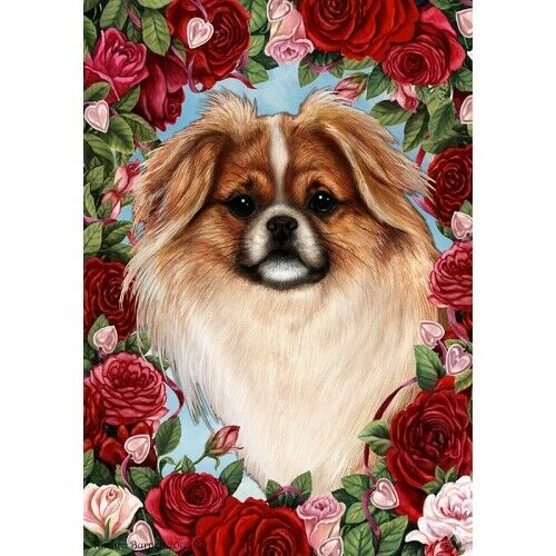 Roses House Flag - Red and White Sable Tibetan Spaniel 19476