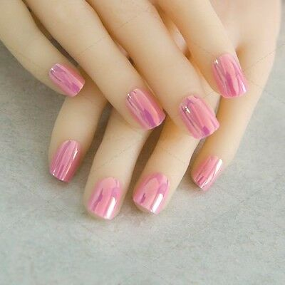 MIRROR HOLOGRAM *PINK* FULL COVER SHORT Press On 24 Nail Tips FAST SHIP!