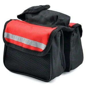 MOUNTAIN-BIKE-BICYCLE-DOUBLE-PANNIER-FRONT-FRAME-TUBE-BAG-MESH-PHONE-CASE-RED
