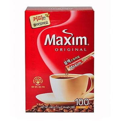 MAXIM Original Black Sticks Coffee 100pcs Korean Instant Mix Coffee