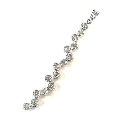 14 Karat White Gold Unique Long Bezel Set Diamond Vertical Bar Pendant P291 Gold Long Diamond Set
