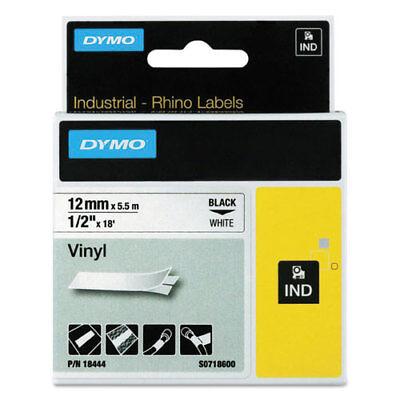 Rhino Permanent Vinyl Industrial Label Tape 12 X 18 Ft Whiteblack Print
