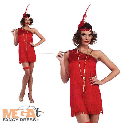 Sexy 20s Red Flapper Girl Ladies Fancy Dress Adults 1920s Gatsby Adults Costume - Red Flapper Sexy Kostüm