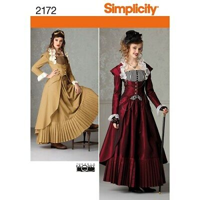SIMPLICITY PATTERN 2172 R5 MISSES COSTUME/COSPLAY STEAMPUNK 14-22 NEW UNCUT
