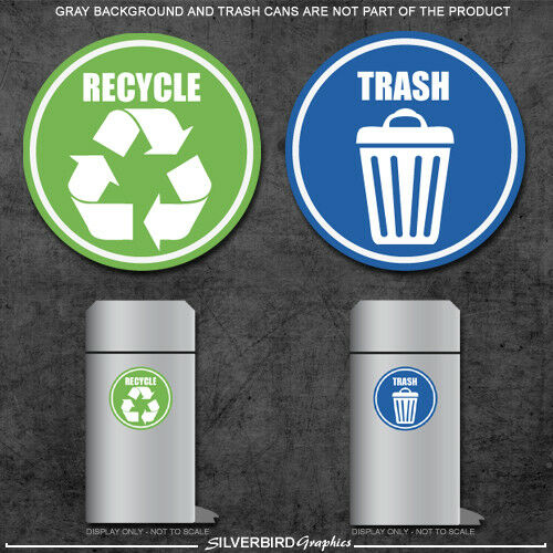 Home Decoration - Trash and Recycle - sticker decals / home and office container / various sizes!