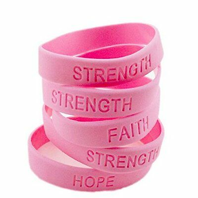 Ribbon Awareness (48pc Pink RIBBON Breast Cancer Awareness Bracelets SURVIVOR FAITH STRENGTH)