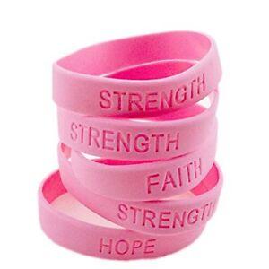 48pc Pink RIBBON Breast Cancer Awareness Bracelets SURVIVOR FAITH STRENGTH HOPE