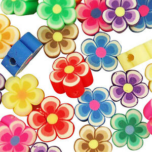50-Mixed-Polymer-Fimo-Clay-FLOWER-Spacer-Beads-8mm
