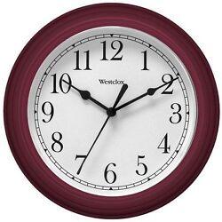 Westclox Dark Red 9 Inch Diameter Decorative Wall Clock Second Hand Battery Op