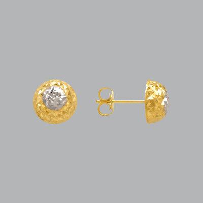 NEW 14K TWO TONE GOLD LADIES GIRLS DIAMOND CUT EARRINGS HALF BALL