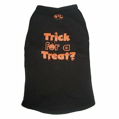 RUFF RUFF AND MEOW DOG T-SHIRT/TANK TOP TRICK FOR A TREAT? BLACK/ORANGE - SMALL