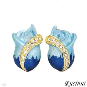 NEW - RUCINNI BLUE ROSE SHAPED EARRINGS WITH AURORA BOREALIS CRY