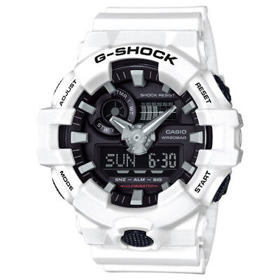 New Casio G-Shock GA700-7A Super Illuminator Ana-Digital 3D White Men's Watch