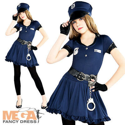 Police Officer + Hat Girls Fancy Dress US Cop Uniform Teens Child Costume Outfit](Teen Police Costumes)