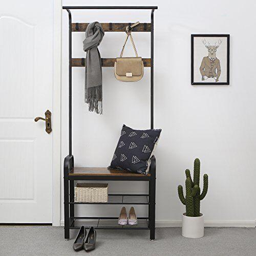 Coat Rack Stand Bench Shoe Storage Hallway Seat Chair Rail
