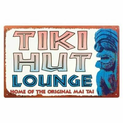 Vintage Style Tin Sign Tiki Hut Lounge 10 X 16 10 Tiki Hut