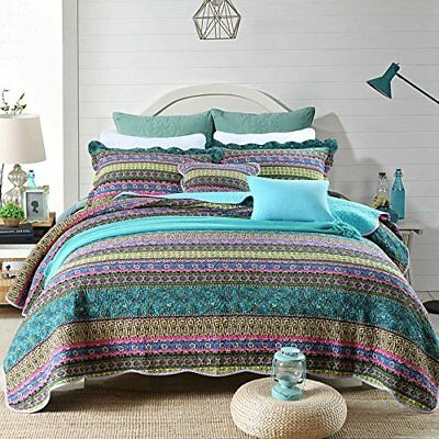newlake striped jacquard style cotton 3 piece patchwork beds