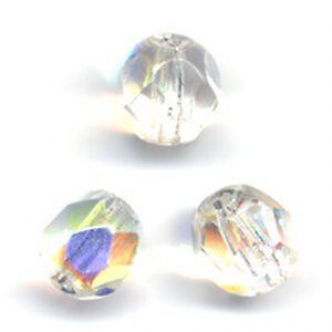 50 6mm Crystal Clear AB Fire Polished Beads