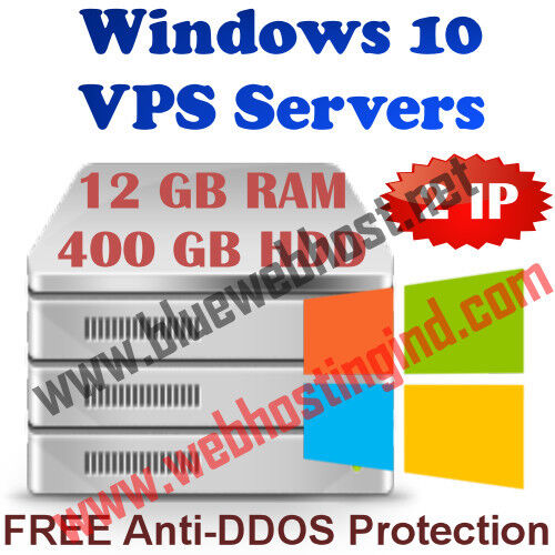Windows 10 Vps (virtual Dedicated Server) 12gb Ram + 400gb Hdd + Ddos