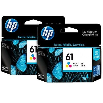 HP Genuine 61 Tri-Color Twin Pack CH562W NEW GENUINE INK