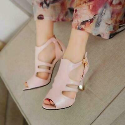 как выглядит Womens Peep Toe Hollow High Heel Stiletto Ankle Strap Sandals Shoes Plus Size фото