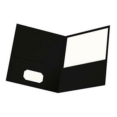 Oxford Twin-pocket Folders Textured Paper Letter Size Black Holds 100