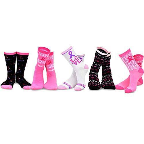 TeeHee Women Breast Cancer Awareness Cotton Crew Socks 5 Pai