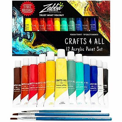 Acrylic Paint Set 12 Colors By Crafts 4 ALL Perfect For Canvas Wood Ceramic NEW - $18.66