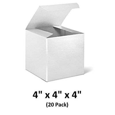 White Cardboard Tuck Top Gift Boxes With Lids 4x4x4 20 Pack