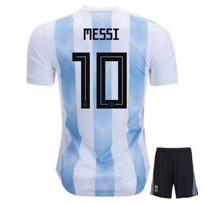 19872fd8a2b Argentina Home 2018 Soccer Jersey/Shorts/Socks Messi #10 (13-14 Years) NEW