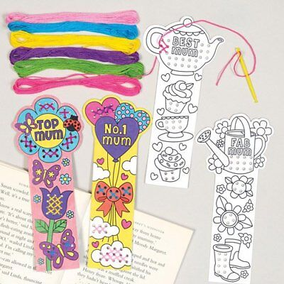 4 Mothers Day Cross Stitch Bookmark Kit Kids Craft Beginners Colour Gift Sew - Mothers Day Kids Crafts