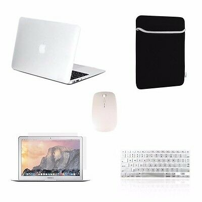 "5 IN 1 Macbook Air 13"" Rubberized Clear Case + Keyboard Cover + LCD + Bag +Mouse"