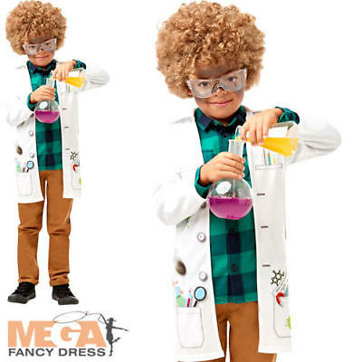 Mad Scientist Jacket Boys Fancy Dress Lab Doctor Uniform Childs Kids Costume Acc