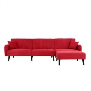 Mid-Century Modern Red Linen Sleeper Sectional Sofa.FF-454321333