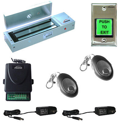 Visionis Door Entry Mag Lock System 1200lbs Kit Wireless Receiver and Remote