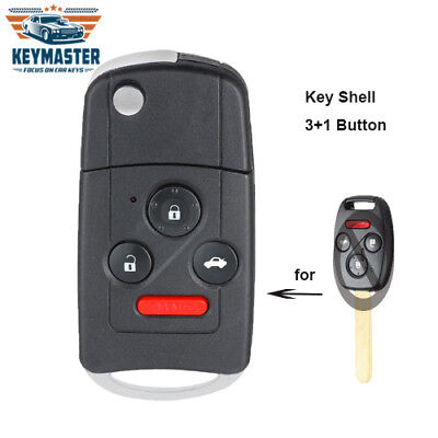 Flip Remote Key Shell Case 3+1B Fob for Honda Accord Civic Pilot W/ Button Pad