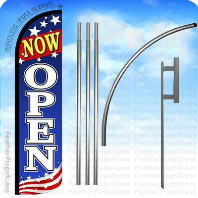 Now Open - Windless Swooper Flag Kit 15 Feather Banner Sign - Patriotic Bz